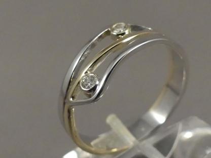 bicolor ring met briljant