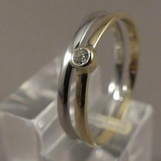bicolor damesring met diamant