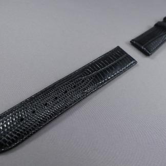 horlogeband zwart hagedis print